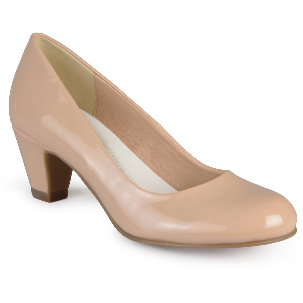 Womens Journee Collection Round Toe Comfort Fit Patent Classic Kitten Heel Pumps - Nude 7