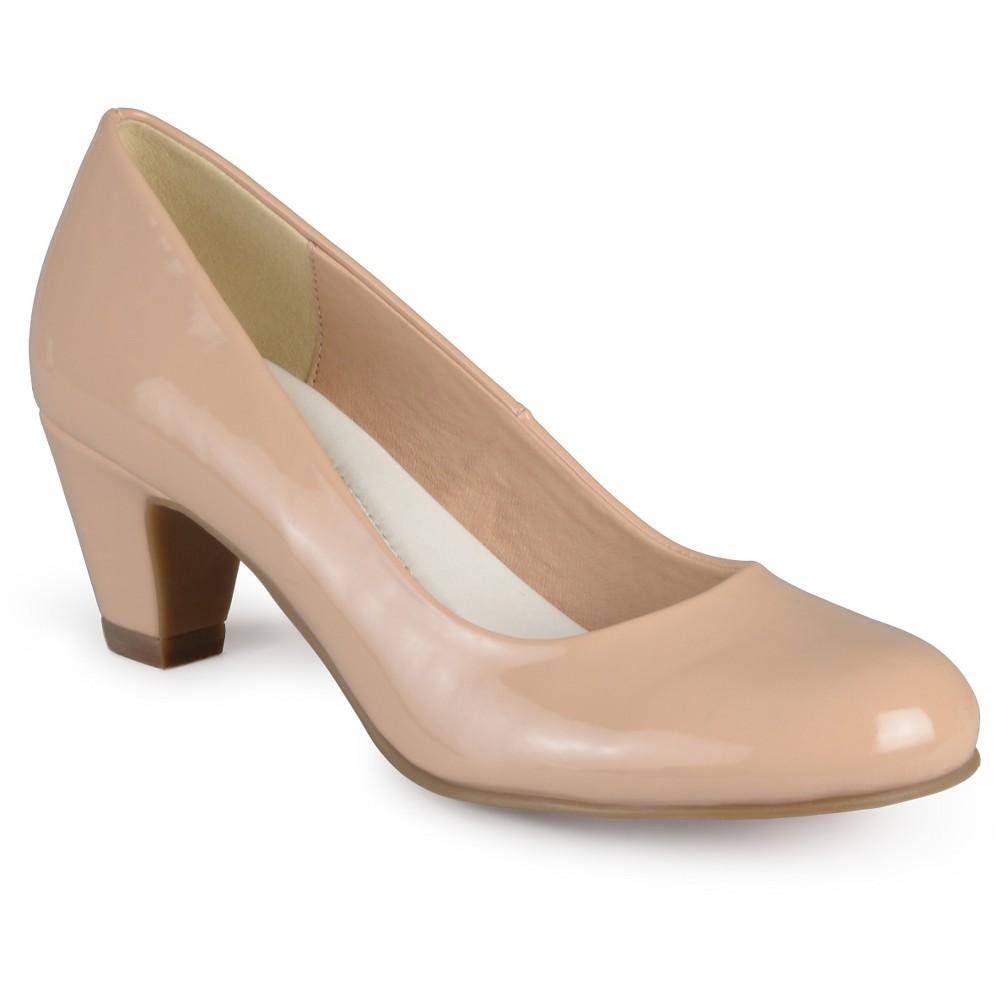 Women's Journee Collection Round Toe Comfort Fit Patent Classic Kitten Heel Pumps - Nude 7.5