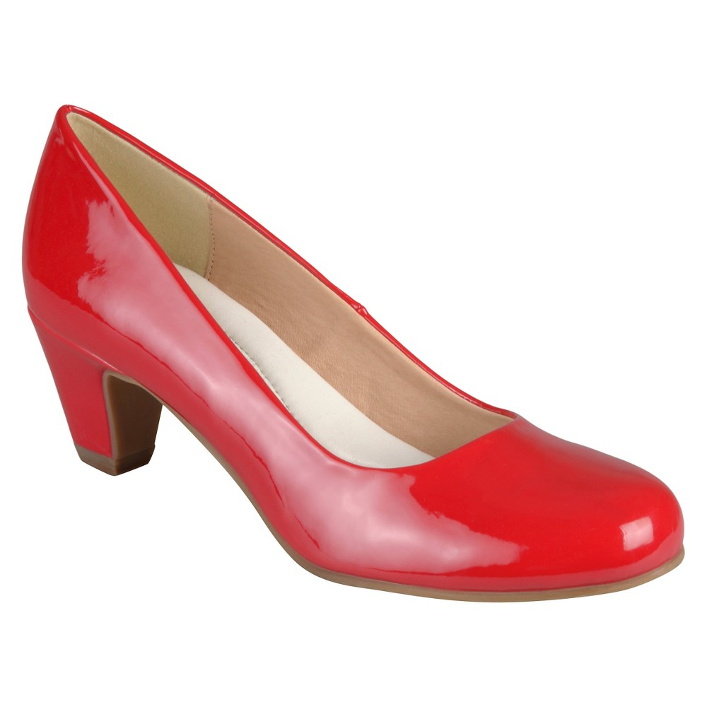 Womens Journee Collection Round Toe Comfort Fit Patent Classic Kitten Heel Pumps - Red 8