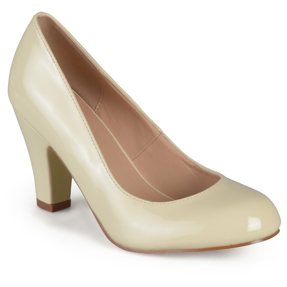 Womens Journee Collection Round Toe Classic Patent Chunky Heel Pumps - Beige 6