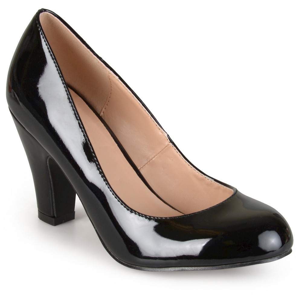 Womens Journee Collection Round Toe Classic Patent Chunky Heel Pumps - Black 7.5