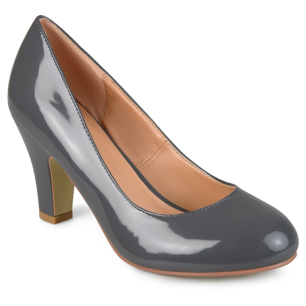 Womens Journee Collection Round Toe Classic Patent Chunky Heel Pumps - Gray 7.5