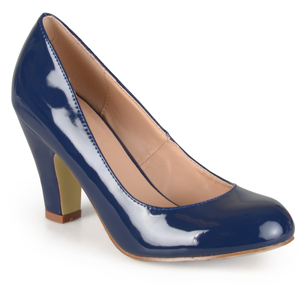 Womens Journee Collection Round Toe Classic Patent Chunky Heel Pumps - Navy (Blue) 9