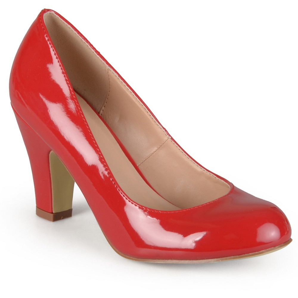 Womens Journee Collection Round Toe Classic Patent Chunky Heel Pumps - Red 7