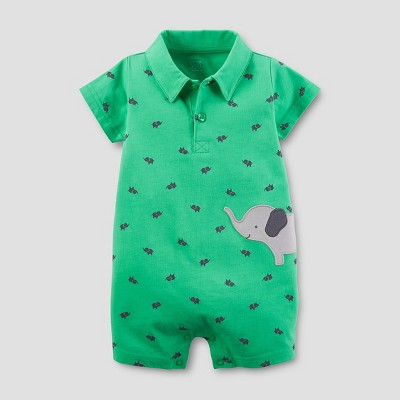 Just One You™ Made by Carter's® Baby Boys' Elephant Knit Polo Romper - Green NB
