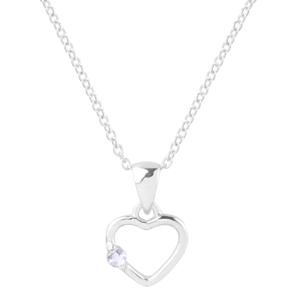 1/10 CT. T.W. Round-Cut Cubic Zirconia Pave Set Heart Birthstone Necklace in Sterling Silver - Lavender, Womens