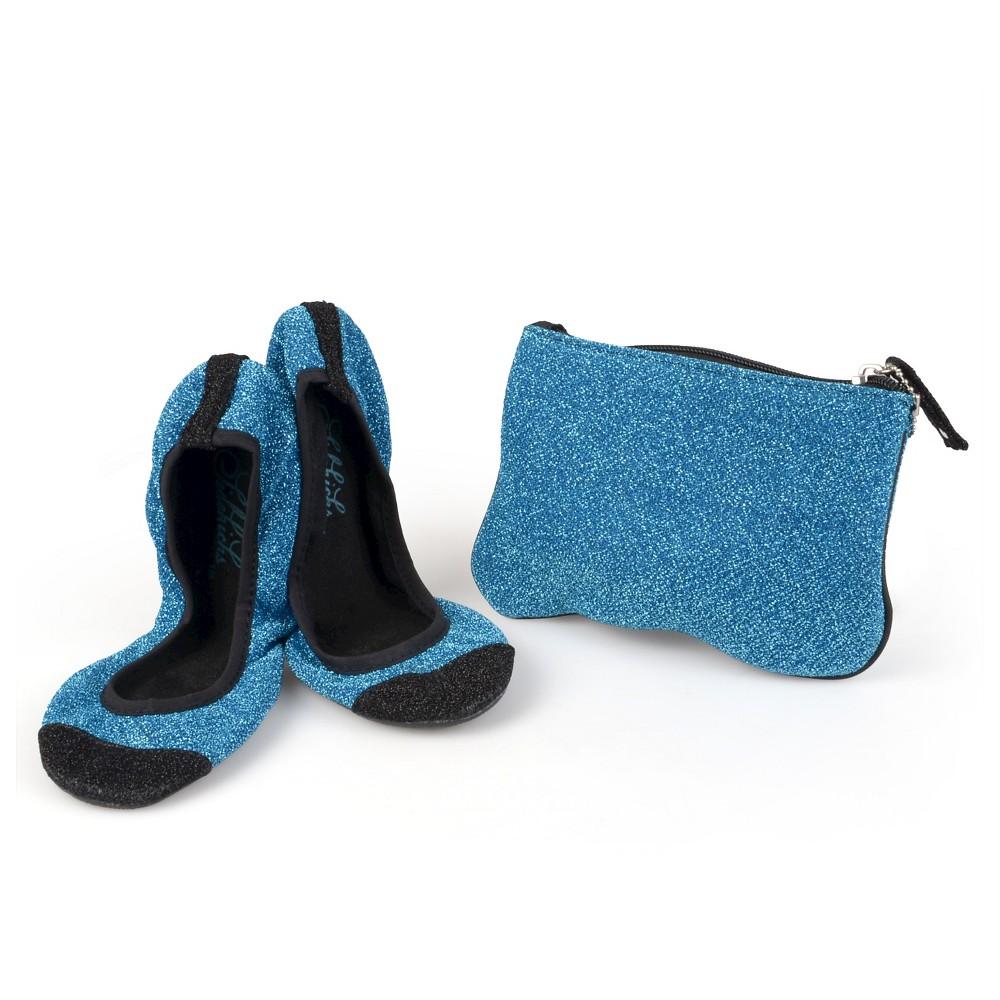 Womens Journee Collection Sidekicks Round Toe Foldable Glitter Ballet Flats - Blue M