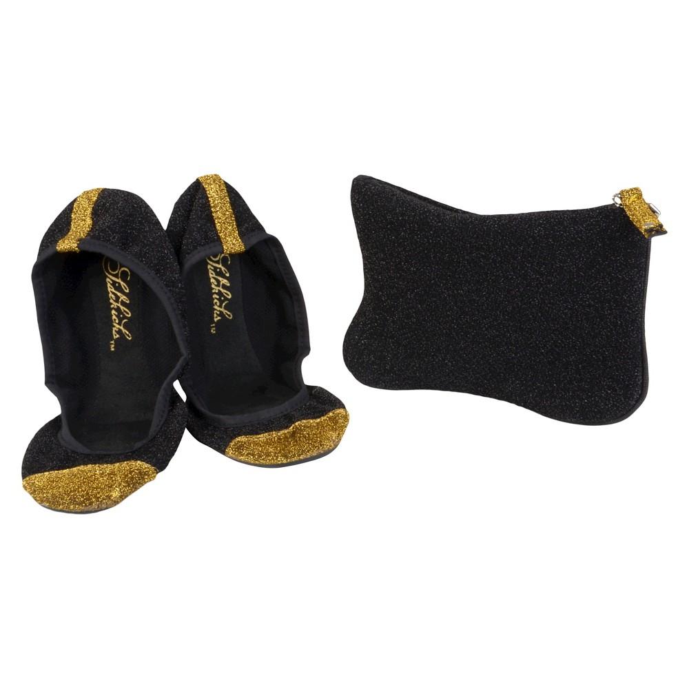 Womens Journee Collection Sidekicks Round Toe Foldable Glitter Ballet Flats - Black S