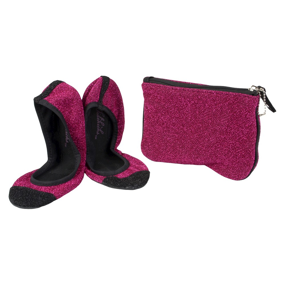 Womens Journee Collection Sidekicks Round Toe Foldable Glitter Ballet Flats - Pink M
