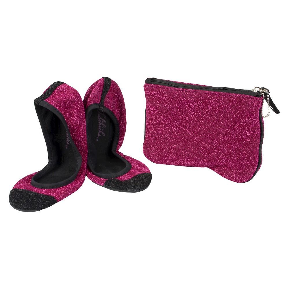Womens Journee Collection Sidekicks Round Toe Foldable Glitter Ballet Flats - Pink XL