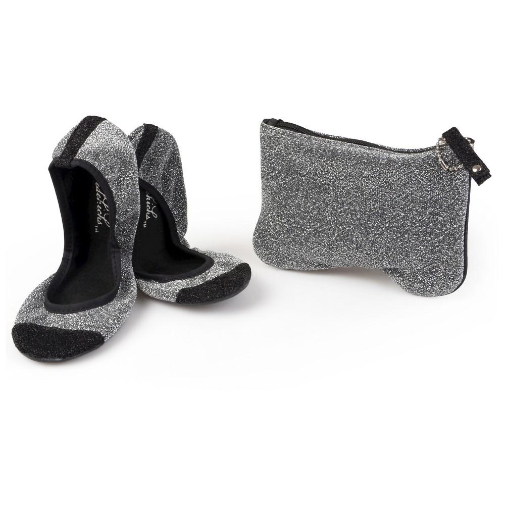 Womens Journee Collection Sidekicks Round Toe Foldable Glitter Ballet Flats - Silver S