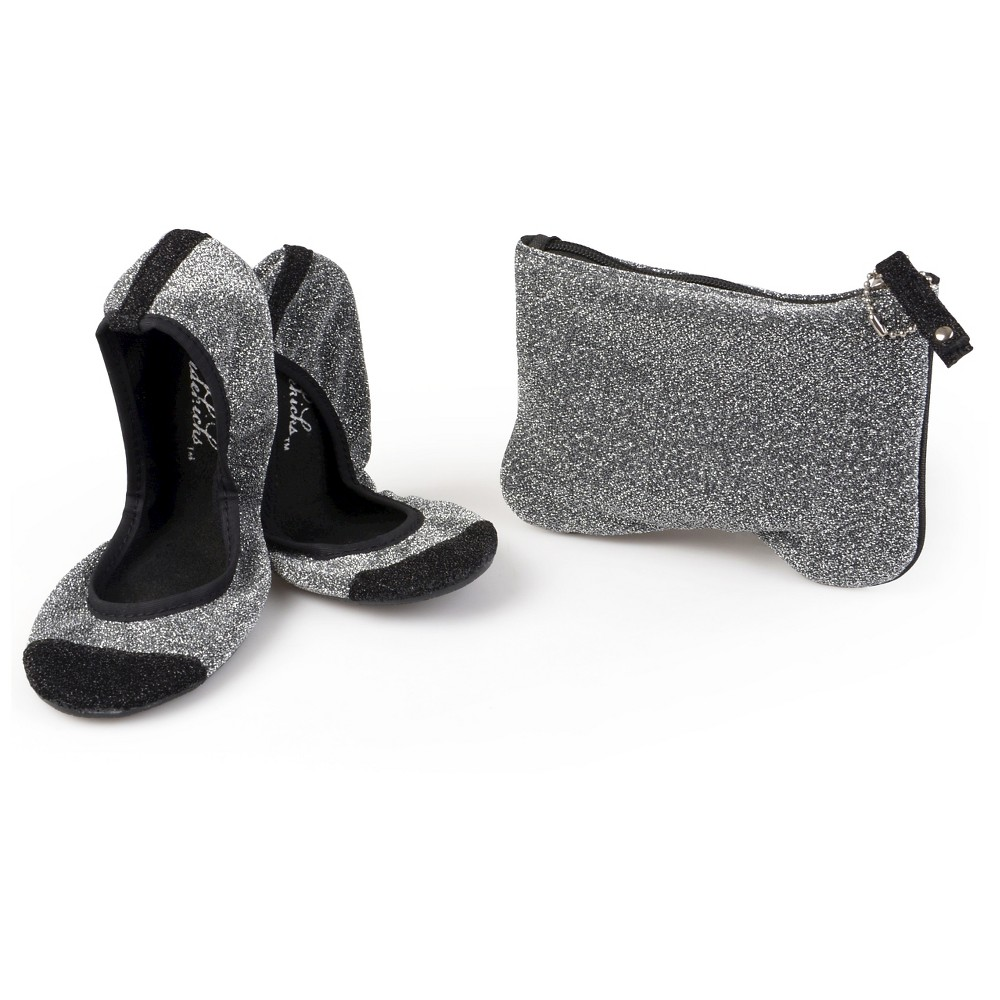 Womens Journee Collection Sidekicks Round Toe Foldable Glitter Ballet Flats - Silver XL