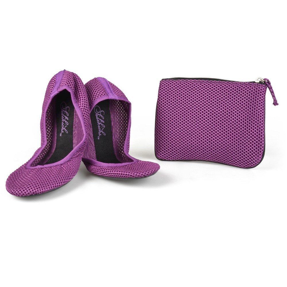 Womens Journee Collection Sidekicks Round Toe Foldable Mesh Ballet Flats - Purple S