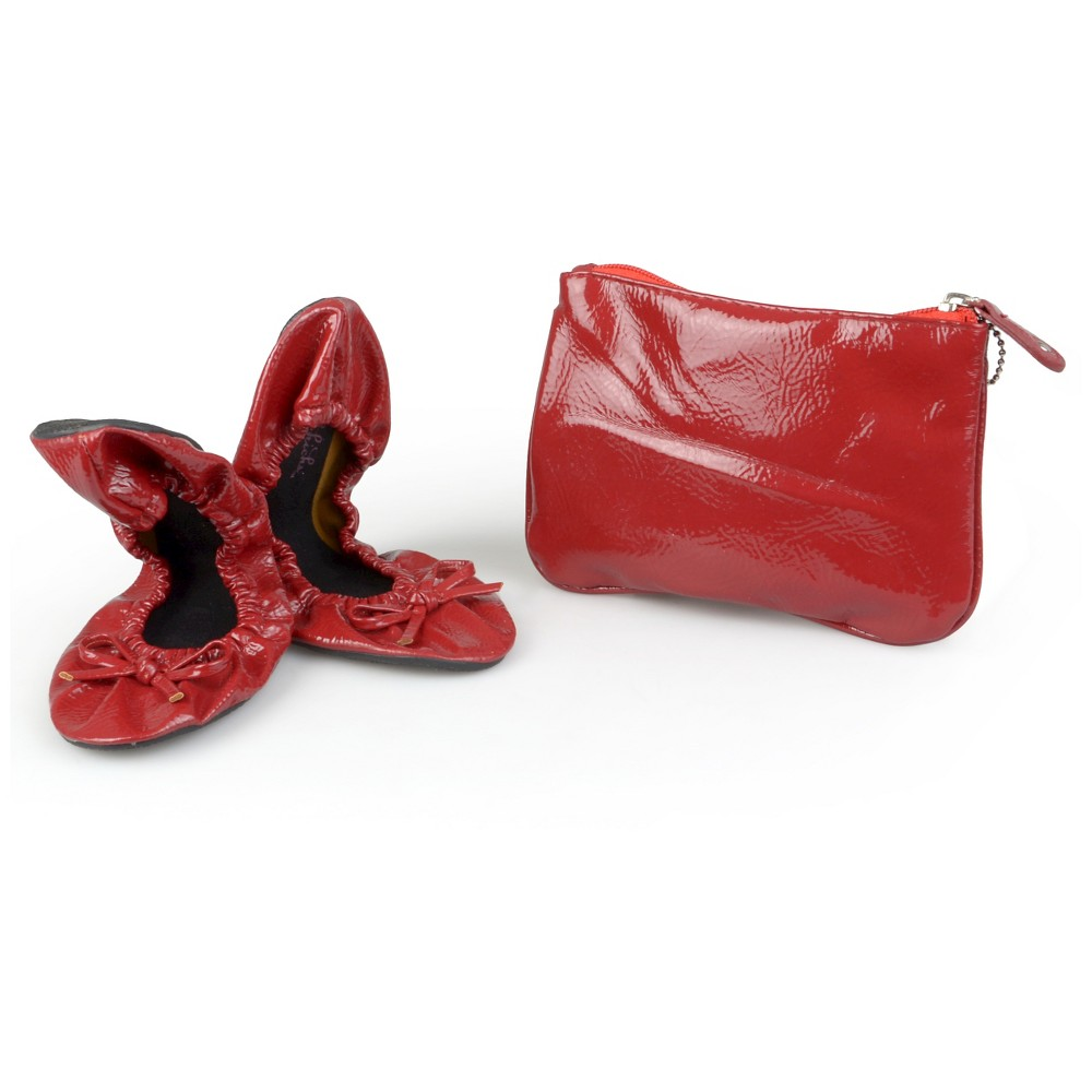 Womens Journee Collection Sidekicks Round Toe Foldable Patent Ballet Flats - Red S