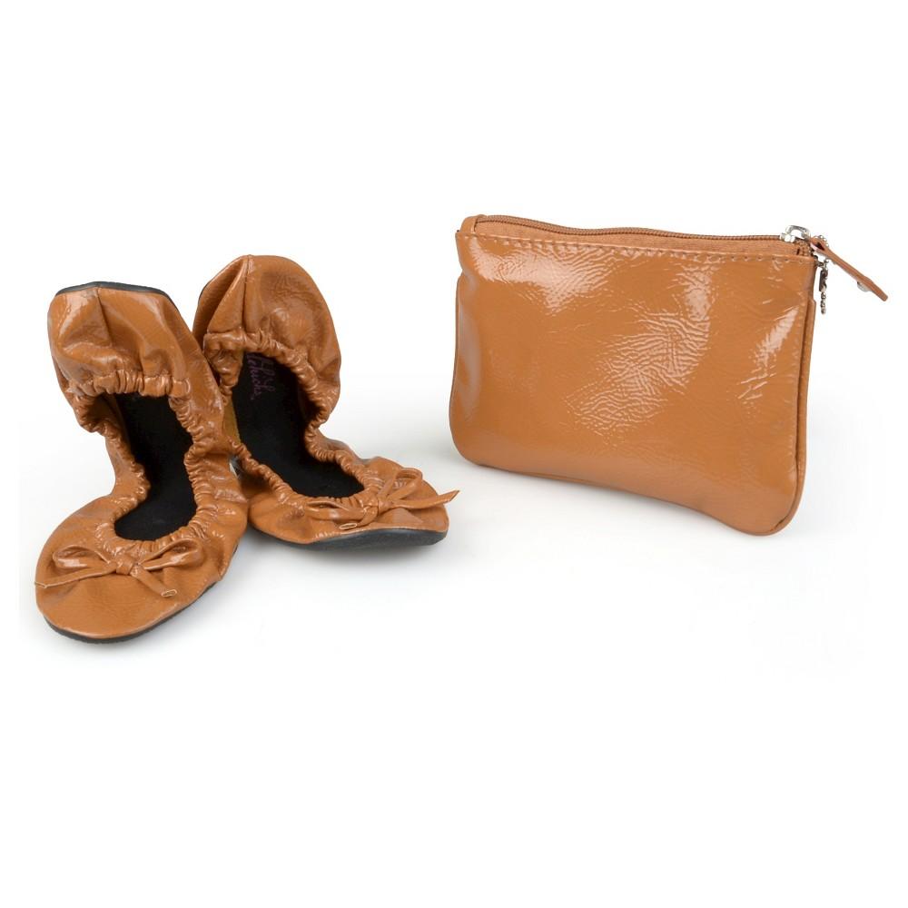 Womens Journee Collection Sidekicks Round Toe Foldable Patent Ballet Flats - Tan S