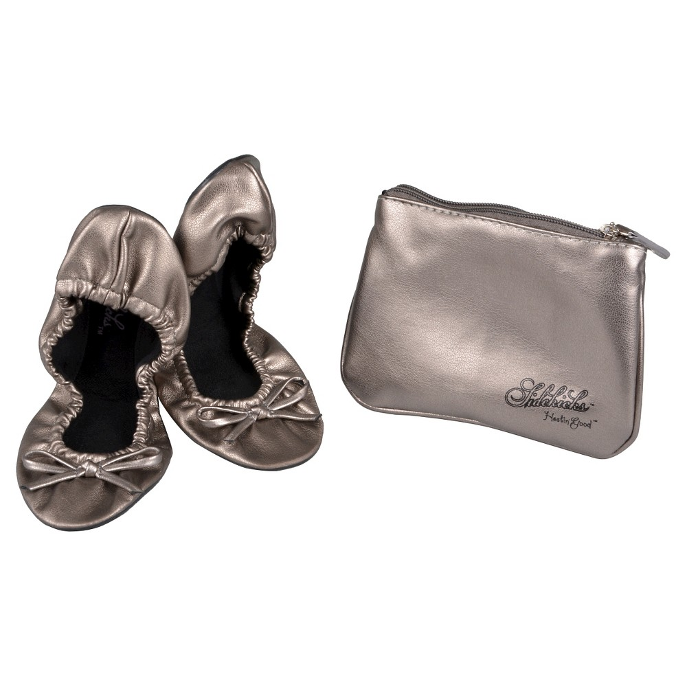Womens Journee Collection Sidekicks Round Toe Foldable Bow Ballet Flats - Silver S