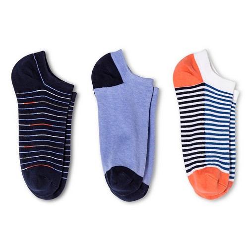 Women's Low-Cut Socks 3-Pack Double Stripe Deep Periwinkle/Xavier Navy One Size - Merona, Multi-Colored