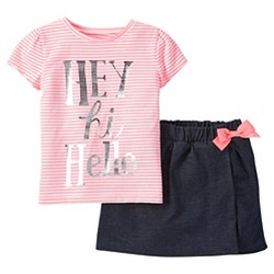 Toddler Girls' 2pc Hey Hi Hello Skort Set - Just One You™ Made by Carter's® Begonia Pink