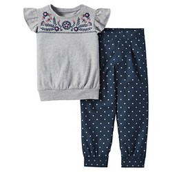 Toddler Girls' 2pc Polka Dot Pants Set - Just One You™ Made by Carter's® Anchor Gray