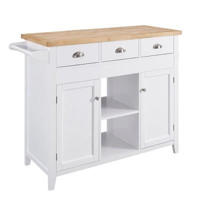 Sheridan Kitchen Cart - White Wood - 2 Cartons- Linon