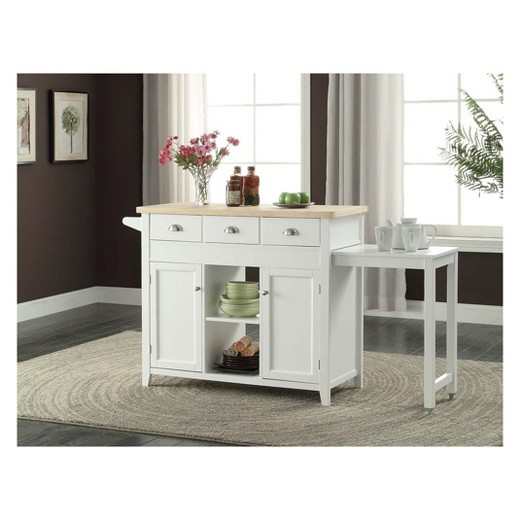 2 piece sheridan kitchen cart wood white linon home for Kitchen decoration piece