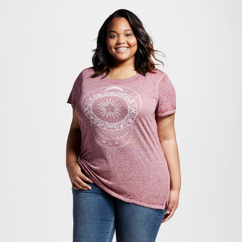 Women's Plus Size Celestial Moonlight Graphic T-Shirt Burgundy 3X - Lol Vintage,  Red plus size,  plus size fashion plus size appare