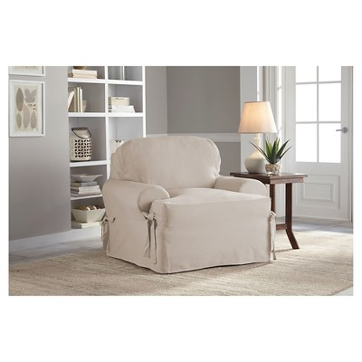 Delightful Relaxed Fit Duck Furniture Chair Slipcover   Serta