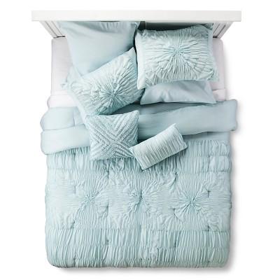 Juliette Rouched Texture Bed Set King Blue - 8 piece