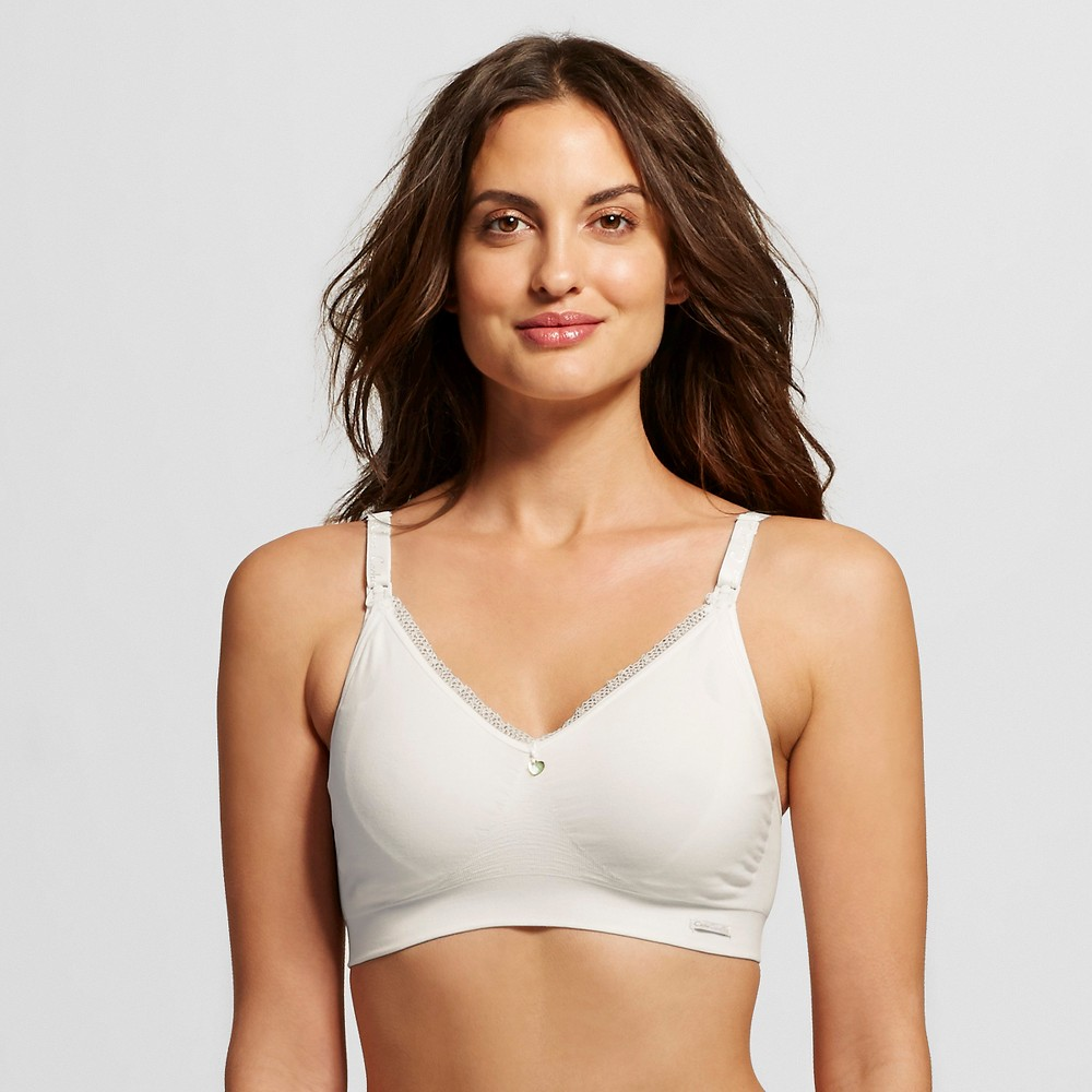 Cache Coeur Signature Organic Cotton Nursing Bra - Natural L, Womens, White