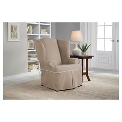 Taupe Brown Relaxed Fit Twill Furniture Wingchair Slipcover - Serta