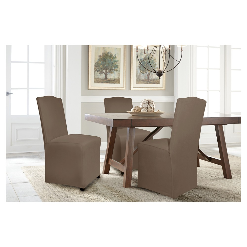 Image of Brown Reversible Stretch Fit Dining Chair Slipcover Long - Serta