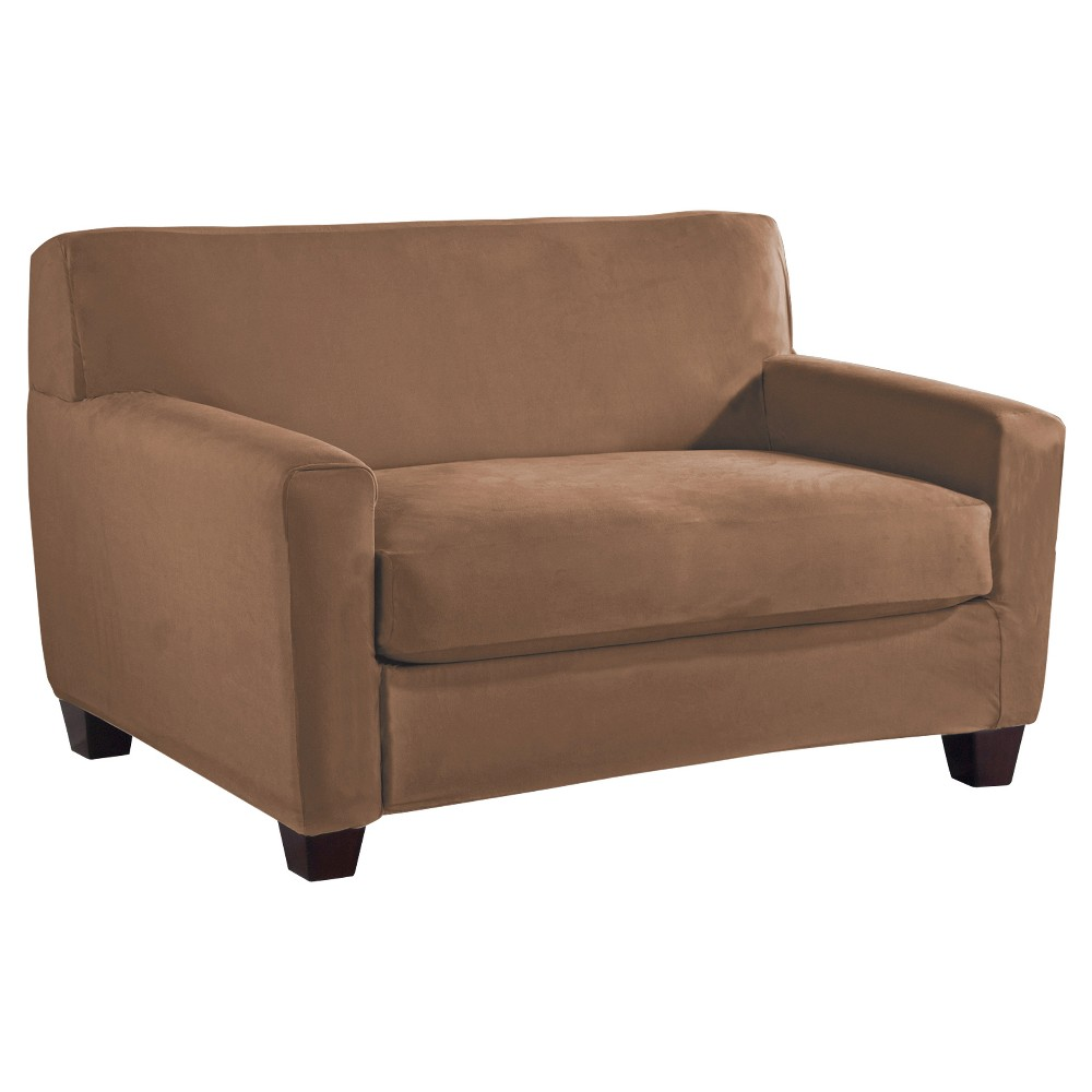 Image of Camel Stretch Fit Microsuede Loveseat Slipcover - Serta