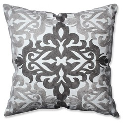 Embroidered Gray Geometric Throw Pillow - Pillow Perfect®