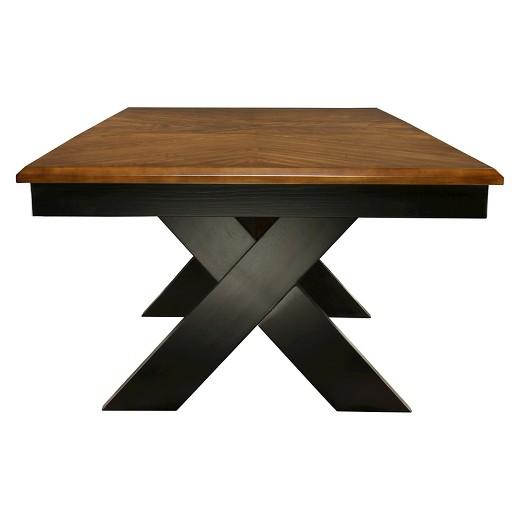 X crossed base dining table wood dark oak and black furniture of america target - Dark oak dining tables ...
