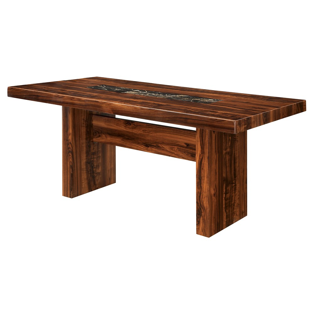 Sun & Pine Faux Marble Top Block Dining Table Wood/brown Cherry