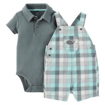 Just One You™ Made by Carter's® Baby Boys' Plaid Whale Shortall - Gray/Light Green 6M