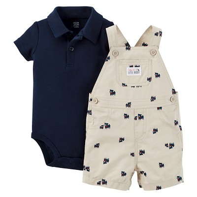 Just One You™ Made by Carter's® Baby Boys' Dog Shortall - Khaki/Navy NB