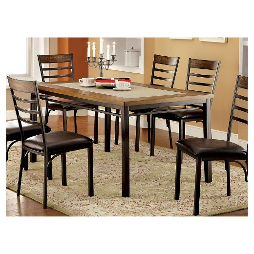 ioHomes Stone Inserted Table Top Dining Table MetalBronze Target