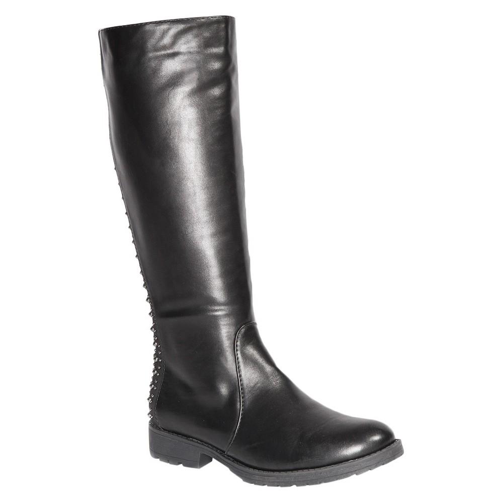 Womens Gia-Mia Dance Corps Knee High Studded Tall Boots - Black 6