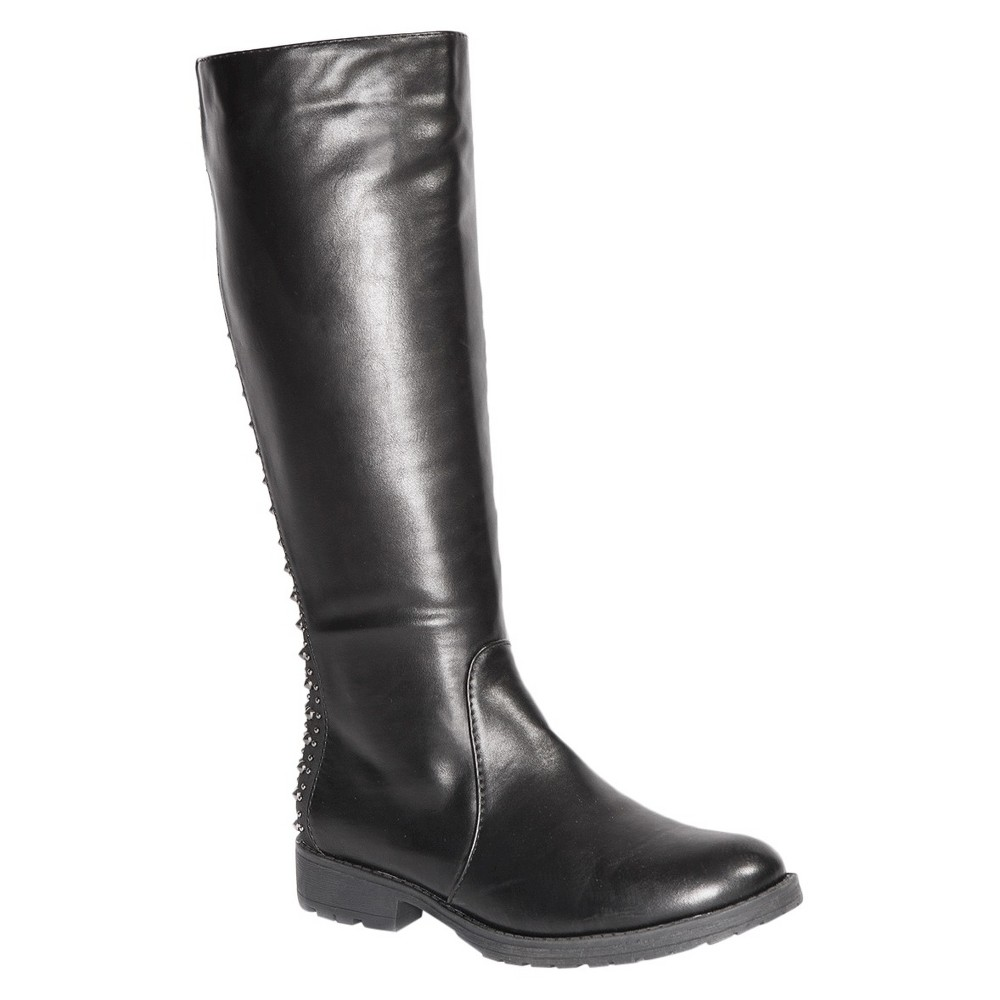 Womens Gia-Mia Dance Corps Knee High Studded Tall Boots - Black 8