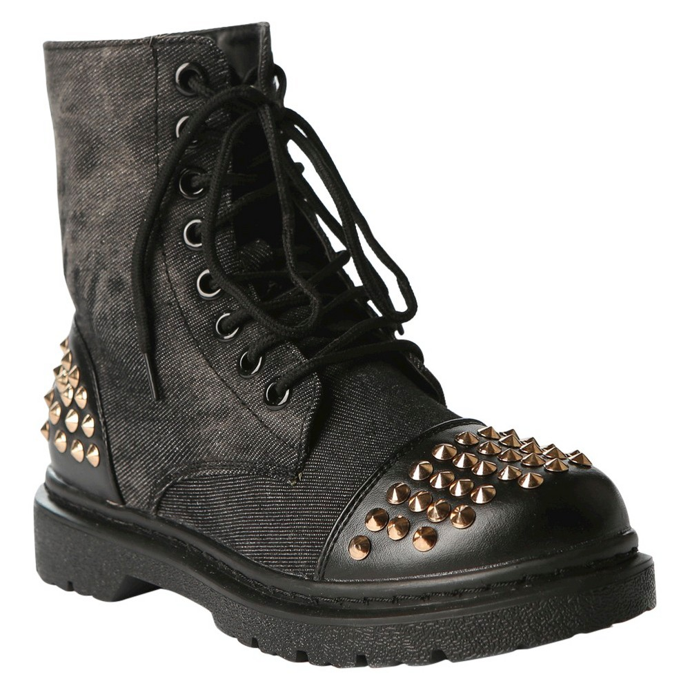 Womens Gia-Mia Rock Star Studded Combat Boots - Black 6