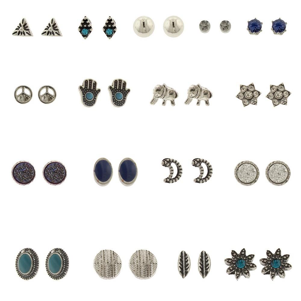 Women's 18 Pair Ear set with Hamsa, Sun, Evil Eye, Elephant, Moon and Stones, Multi-Colored