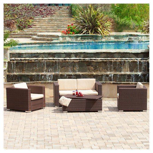 Outdoor Wicker Patio Furniture christopher knight home murano 4-piece wicker patio sofa set : target
