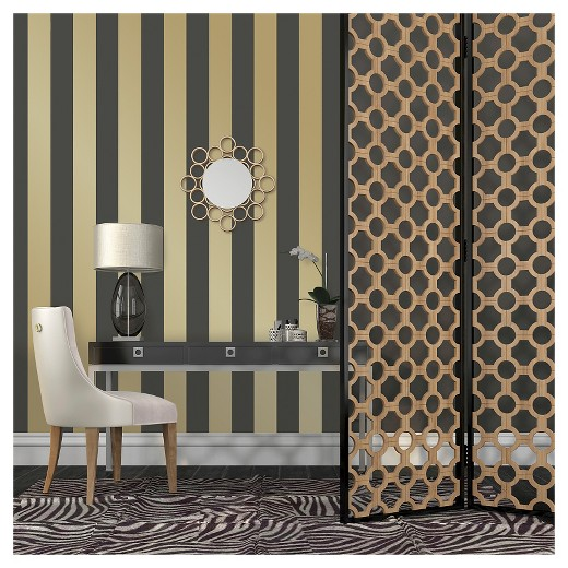 Tempaper Self Adhesive Removable Wallpaper Stripes Gold