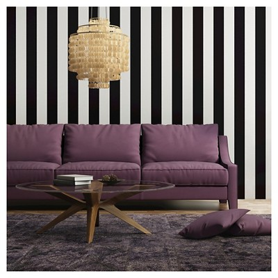 Tempaper Self-Adhesive Removable Wallpaper Stripes - Black ...