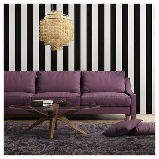 Tempaper Self-Adhesive Removable Wallpaper Stripes - Black
