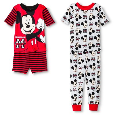 Mickey Mouse Toddler Boys' 4-Piece Pajama Set Red 2T