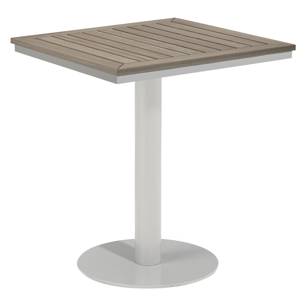 Travira 24 Square Bistro Table Powder Coated Aluminum Frame with Vintage Teakwood Top - Oxford Garden,  Vintage Tekwood Tabletop plus size,  plus size fashion plus size appare