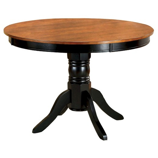 Sun Pine Pedestal Round Dining Table WoodAntique Oak And Black