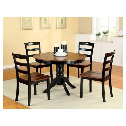 Sun Pine Pedestal Round Dining Table WoodAntique Oak And Black